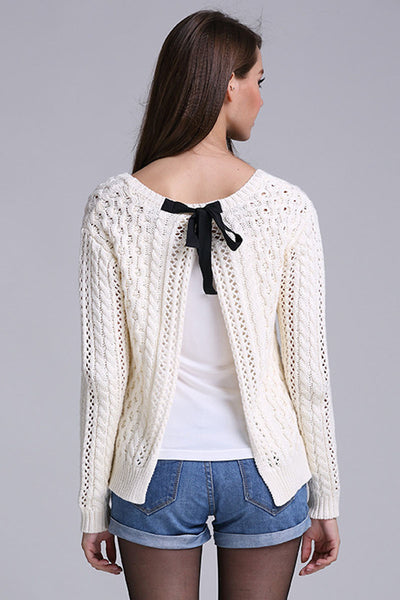 Ellady White Long Sleeve Backless Hollow Out Sweater