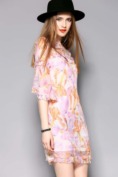 Fresh Day Pink Floral Chiffon Dress