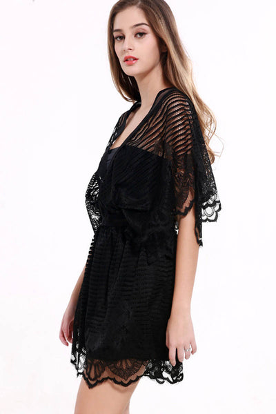 Nice Sunny Day Black Lace Romper