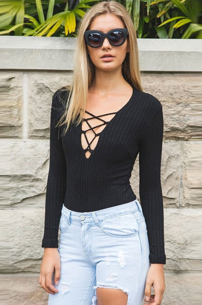 Ellady Solid Long Sleeve Lace Up Sweater