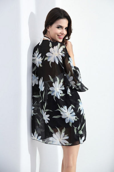 Ellady Beachtime Floral Open-Front Cover Up