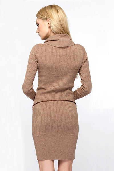 Ellady Pure Color Long-sleeved Knitted Sweater Dress