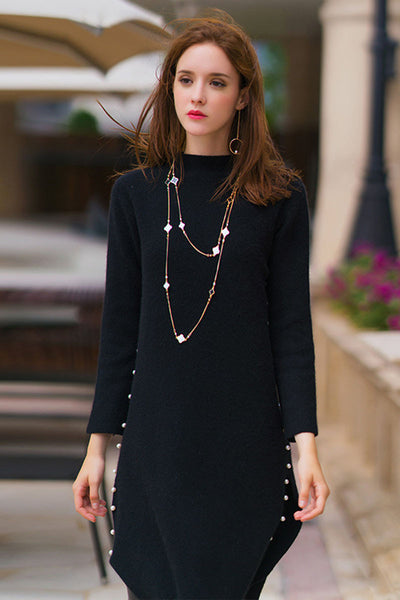 Ellady Luxury Bead Loose Mink Cashmere  Knit Dress