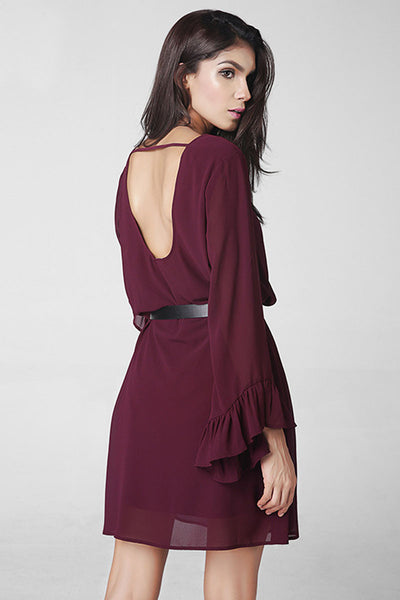 Ellady Burgundy V Back Chiffon Dress