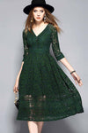 Ellady Desirable Details Green Lace Dress