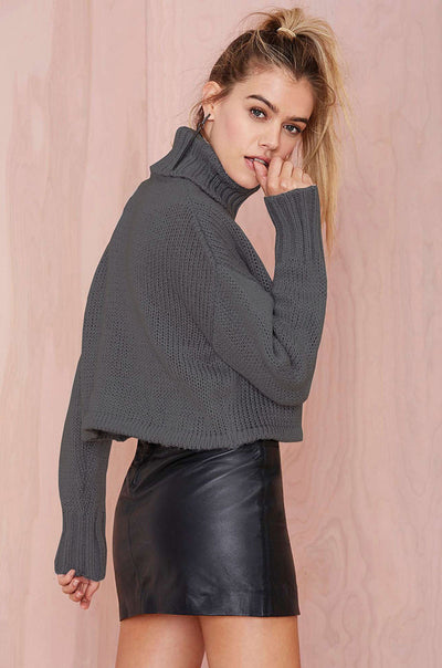 Dark Grey Long Sleeved Knitted Loose Sweater