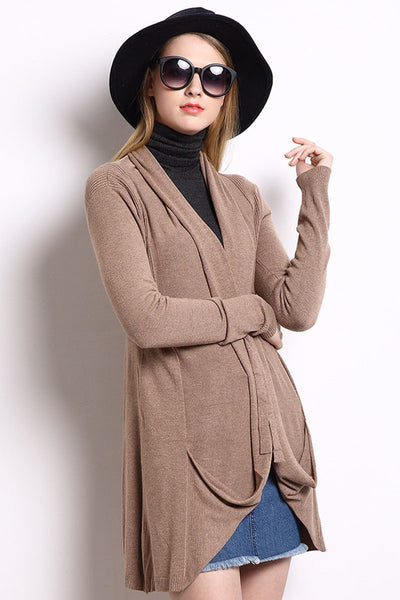 Ellady Camel Long Sleeve Self Tie Knit Cardigan