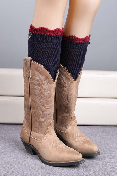 Ellady Crochet Knit Boot Cuffs With Botton