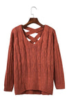 Ellady Cross Back Long Sleeve Fall Sweater