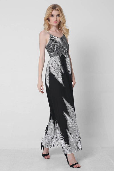 Ellady Easy Traveling B&W Maxi Dress
