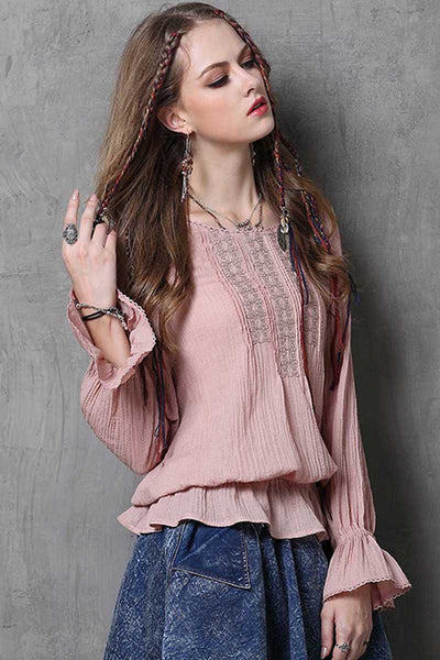 Ellady Falbala Sleeve Retro Embroidery Blouse