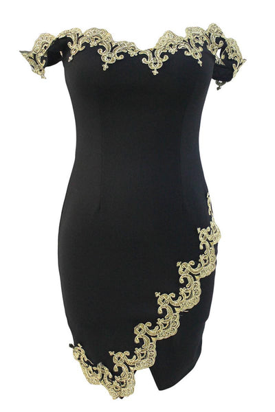 Ellady Gold Lace Applique Black Mini Dress