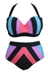 Ellady Halter Plus Size Striped Swimsuit
