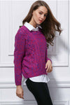 Ellady Mixed Purple Pullover Short Sweater