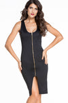 Ellady Solid Front Split Bodycon Dress