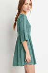 Ellady Green Stripe Print Half Sleeve A Line Dress