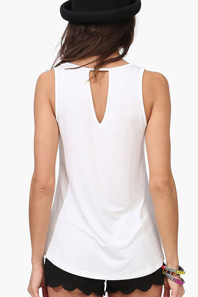 Ellady White Photo Print Casual Top