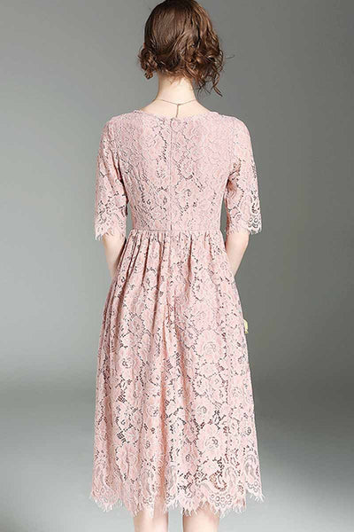 Ellady Details Matter Solid Lace Dress