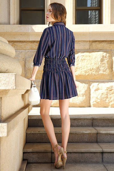 Ellady 3/4 Sleeve Elastic Waist Striped Dress