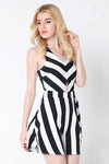 Ellady B&W Cross Back Striped Dress
