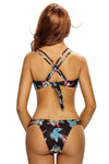 Ellady Leaves Print Cross Back Swimsuit