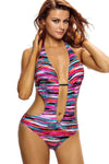 Ellady Multicolor Plunge Neck Backless Swimsuit