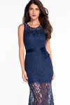 Ellady Navy Blue Lace Prom Dress