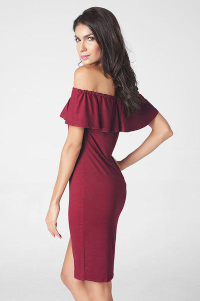 Ellady Off The Shoulder Falbala Slim Dress