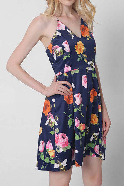 Ellady V Neck Cross Back Floral Dress