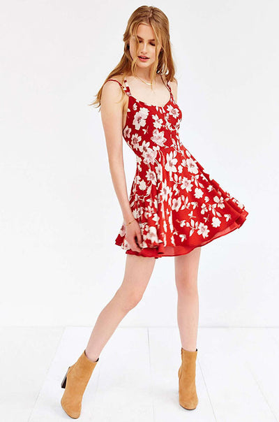 Ellady Red Floral Open Cross Back Dress