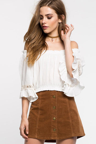 Ellady White Ruffled Off The Shoulder Blouse