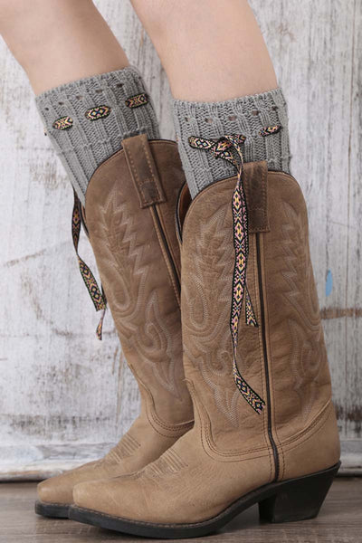 Ellady Winter Leg Warmer Knit Boot Cuffs With Bow