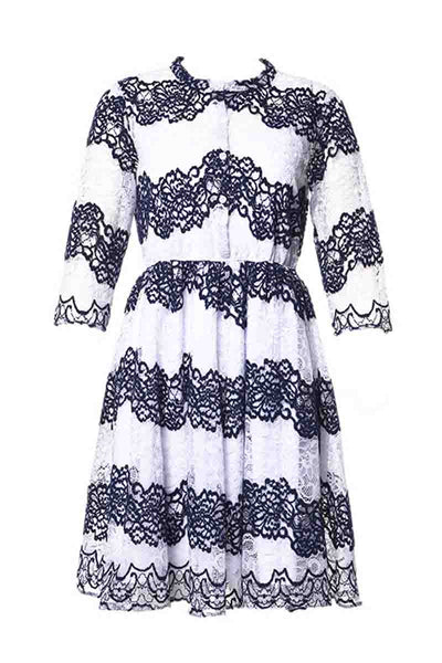 Always Look Fab Lace Striped Dress