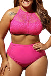 Ellady Plus Size High Waist Lace Bikini Set