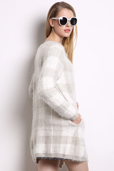Ellady Plaid Jacquard Long Sweater Cardigan
