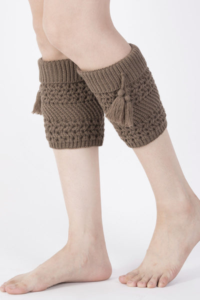 Ellady Solid Color Tassel Crochet Knit Boot Cuffs