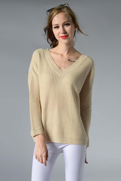 Ellady V Neck Open Back Sweater