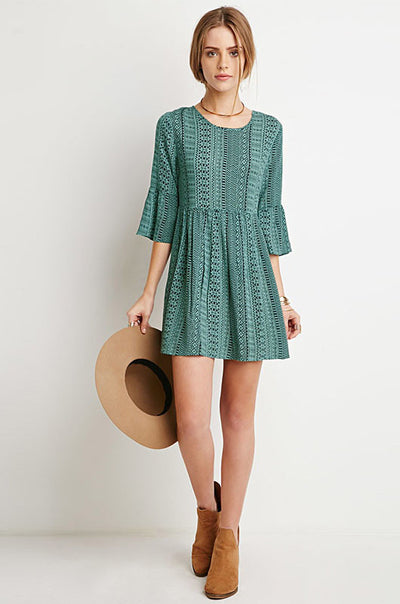 Green Stripe Print Half Sleeve A Line Dress