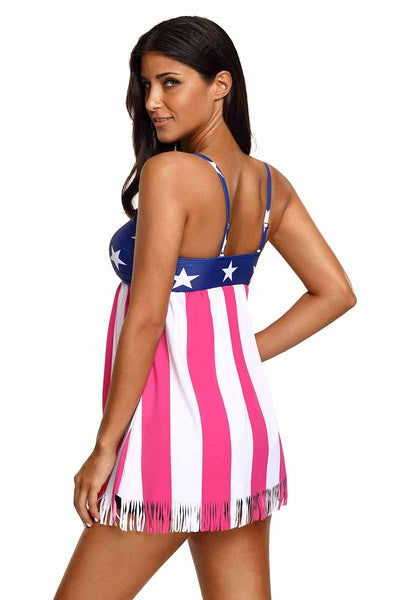 Ellady American Flag Tassel Swimdress With Short