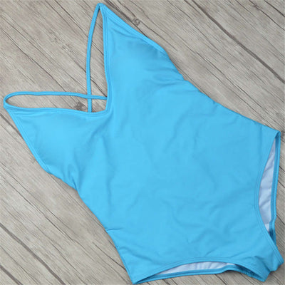 Basic Plain Backless One Piece Swimsuit