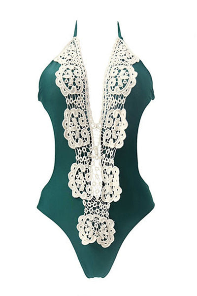 Beach Moves Halter Lace One Piece Swimsuit
