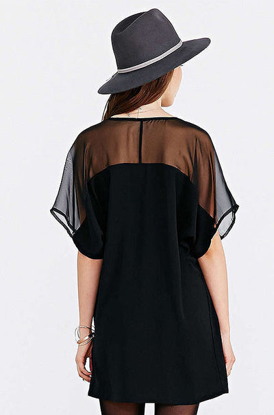 Ellady Black Short Sleeve Chiffon Dress