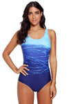 Blue Gradient Criss Cross Back Swimwear
