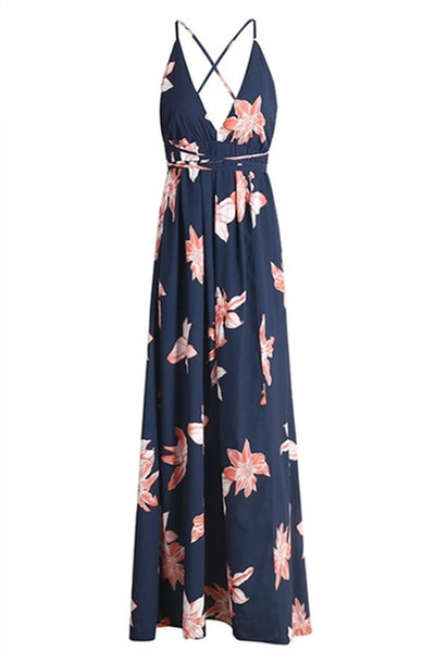 Boho Deep V Neck Backless Split Maxi Dress