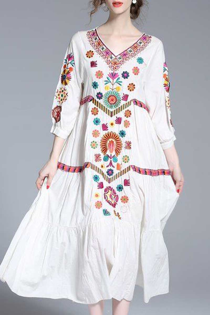 Boho Floral Embroidered V Neck Dress