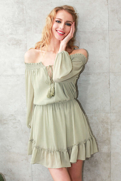 Chiffon Off Shoulder Ruffle Dress