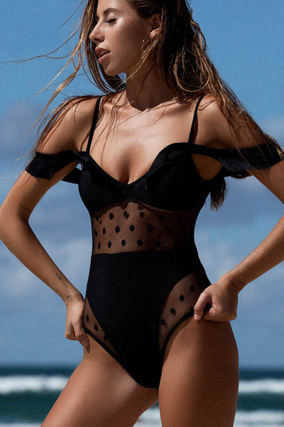 Dotted Mesh And Ruffled Black Monokini