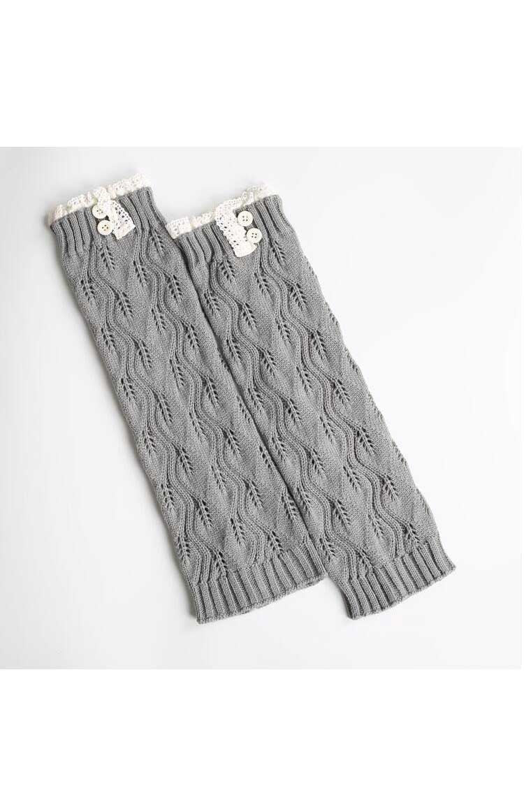 Ellady Grey Women's Knit Lace and Button Boot Cuffs