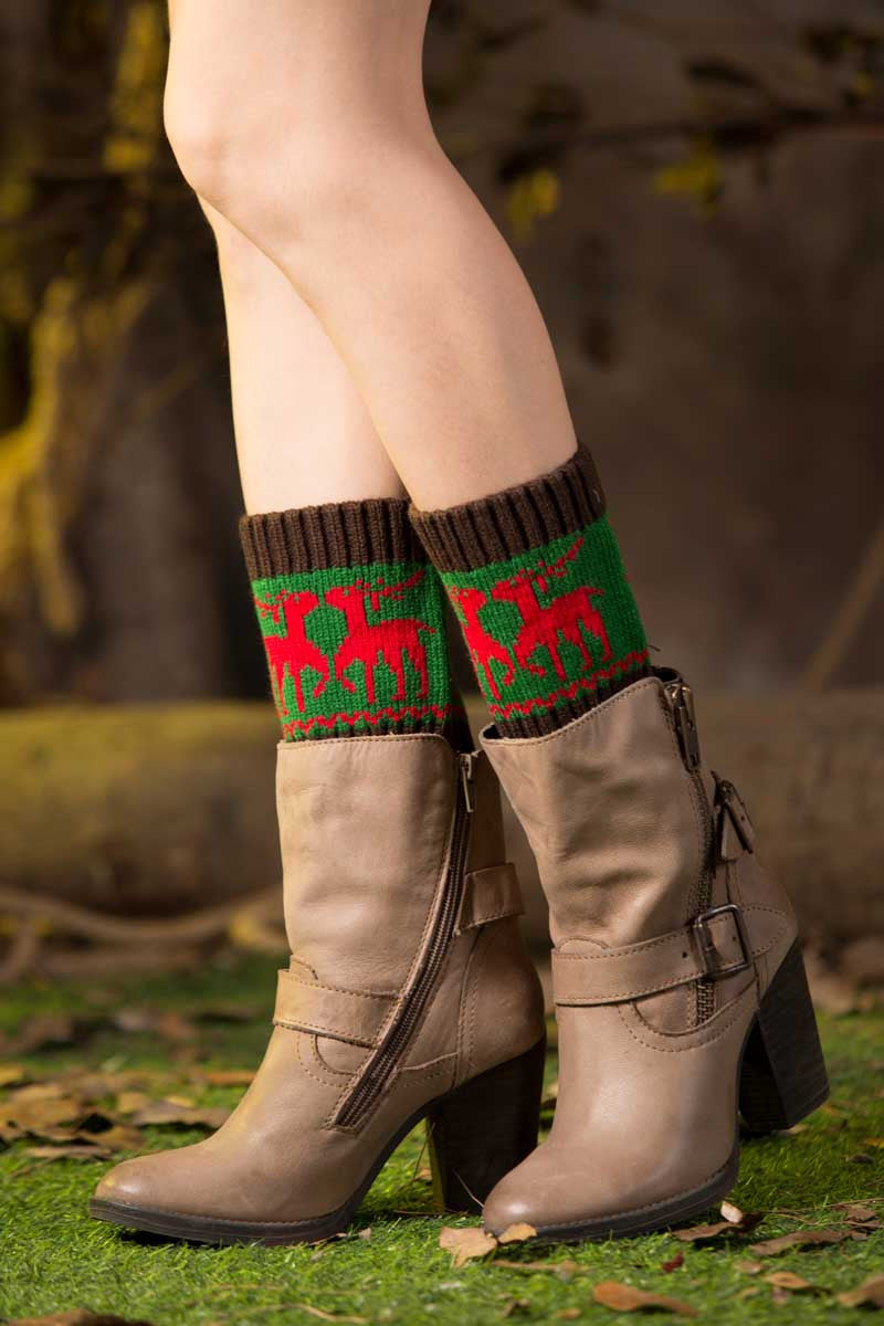 Ellady Knit Christmas Deer Short Leg Warmer Boot Cuff
