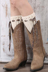 Ellady Winter Beige Knit Boot Cuffs With Bow
